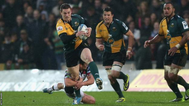 Welsh wing George North on the attack for Northampton in their Amlin Challenge Cup semi final against Harlequins