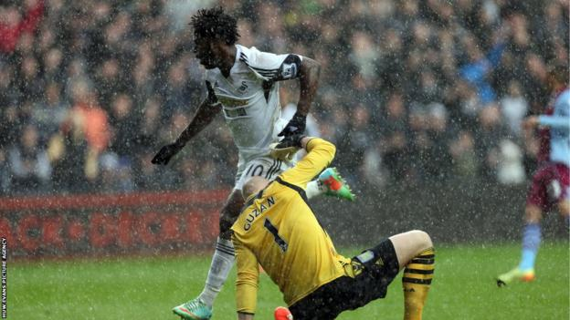Wilfried Bony beats Aston Villa goalkeeper Brad Guzan to give Swansea City an early lead in the Premier League game at the Liberty Stadium.