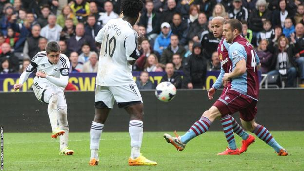 Pablo Hernandez curls in third for Swansea before Bony scored a second with a penalty in injury time to seal a 4-1 win.