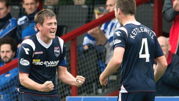 Ross County duo Richard Brittain and Stuart Kettlewell celebrate a goal