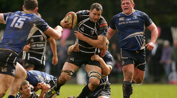 Pontypridd's Chris Dicomidis takes on the Leinster A defence during the thrilling British and Irish Cup semi-final at Sardis Road. The match ended in a 22-all draw after extra time, but the Irishmen went through to the final on try count after outscoring Ponty by three touchdowns to one
