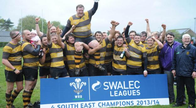 St Josephs RFC celebrate after being presented with the trophy for winning the Welsh Rugby Union League 4 South East Championship