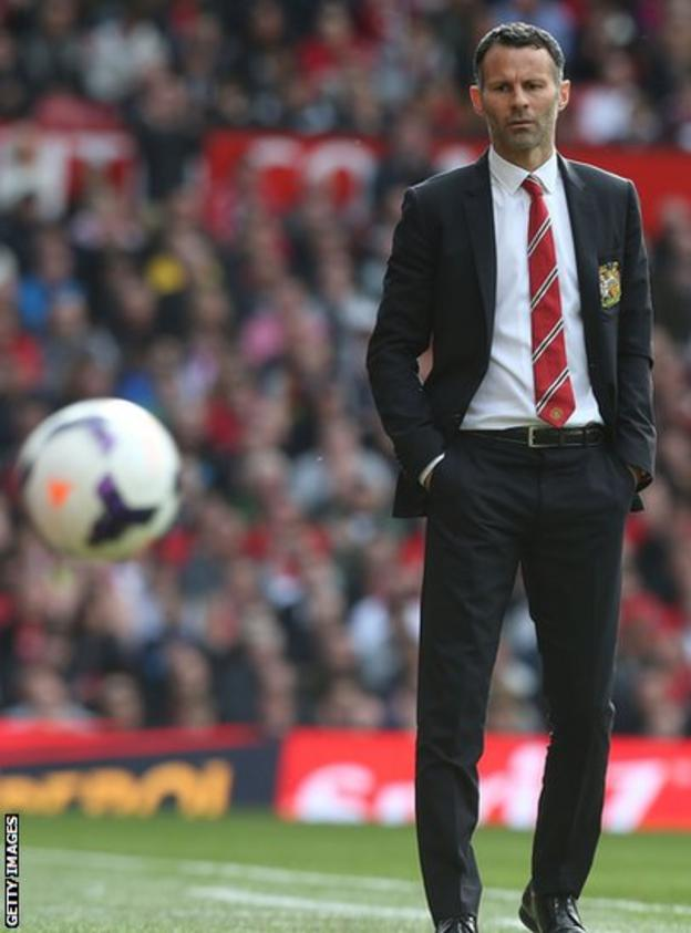 Ryan Giggs paces Old Trafford as he takes charge of Manchester United for first time in their Premier League game, beating Norwich City 4-0.