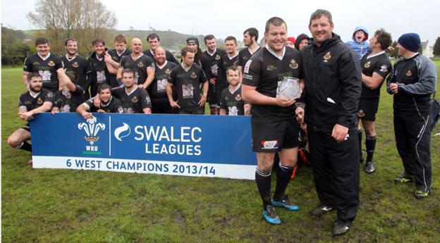 Burry Port are crowned champions of the Welsh Rugby Union's League 6 West after their match against Mynydd y Garreg