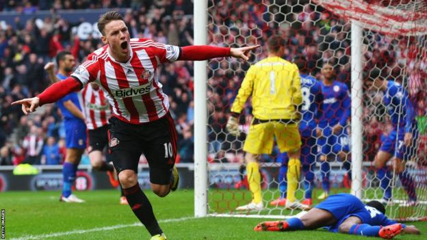 Connor Wickham celebrates after giving Sunderland the lead against Cardiff City in the Premier League match at the Stadium of Light