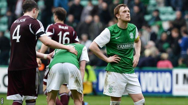 Hibs players are left dejected at full time