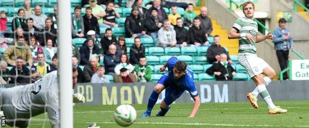Teemu Pukkis scores for Celtic against Inverness