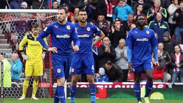 Dejected Cardiff City players after the defeat against Sunderland