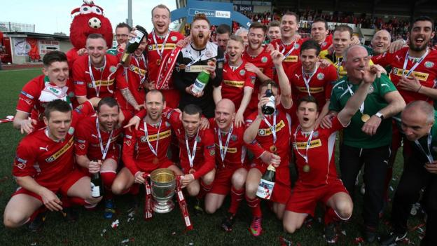 Cliftonville celebrate back-to-back Premiership titles having finished the season six points ahead of second-placed Linfield