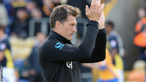 Torquay manager Chris Hargreaves after the club's relegation to the Conference was confirmed