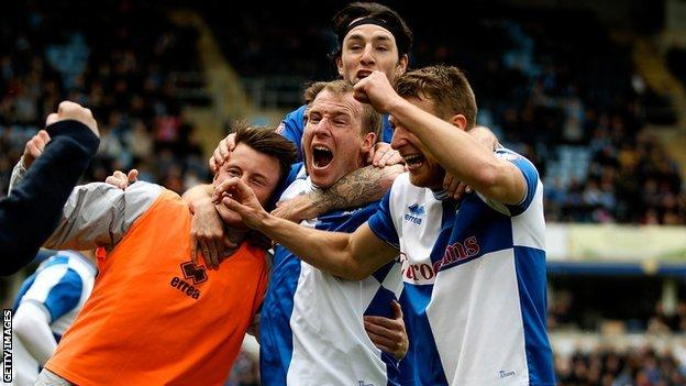 Bristol Rovers celebrate scoring against Wycombe