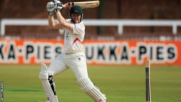 Leicestershire batsman Niall O'Brien hits the ball towards the boundary on his way to a century against Glamorgan