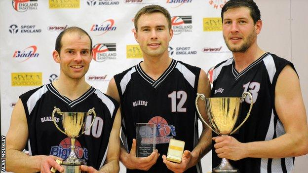 (L to R) Simon Allaway with the play-off Trophy; Alex Dorr with MVP Award and Sam O'Shea with league Trophy
