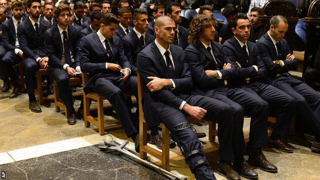 Andres Iniesta, Victor Valdes, Xavi and Carles Puyol remember Tito Vilanova at a service
