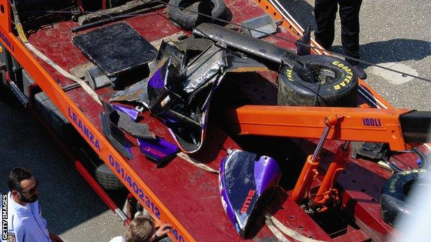 The wreckage of Roland Ratzenberger's car in 1994