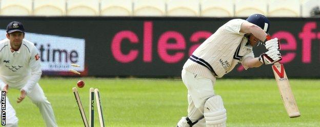 Eoin Morgan is bowled out