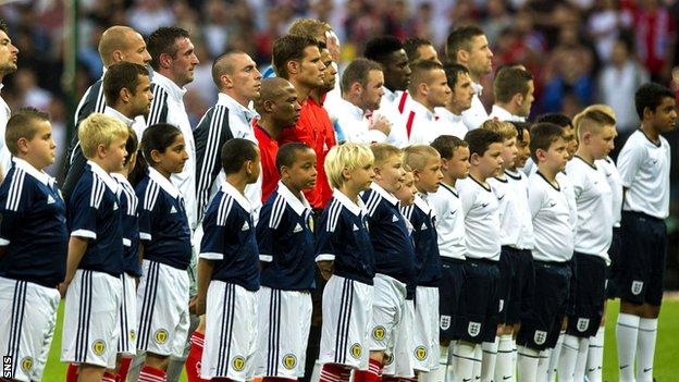 Scotland and England players at Wembley