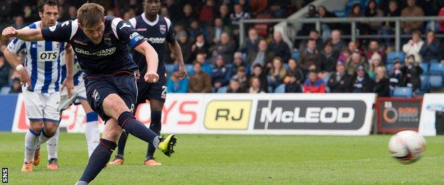 Richie Brittain scores a penalty for Ross County against Kilmarnock