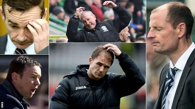 Derek Adams, Danny Lennon, Terry Butcher, Allan Johnston and Alan Archibald