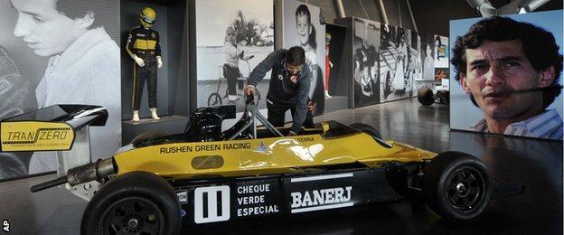 A 1982 Formula Ford racing car driven by Senna on display at Imola
