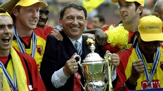 Graham Taylor celebrates with Watford players after winning the 1999 Division One play-off final