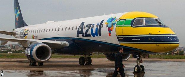 A Brazilian airline remembers Senna by painting his helmet onto the front a plane