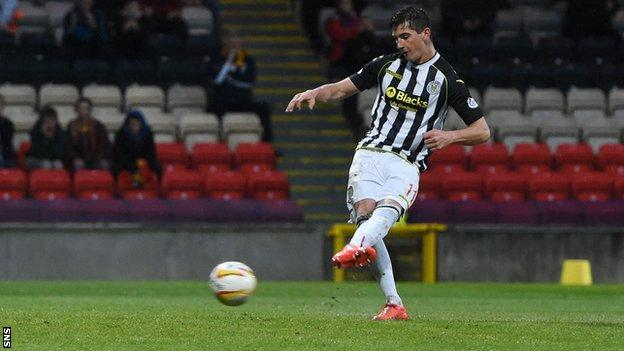 St Mirren midfielder Kenny McLean scores a penalty against Partick Thistle