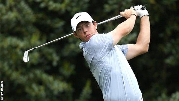 Rory McIlroy in action at the Wells Fargo Championship