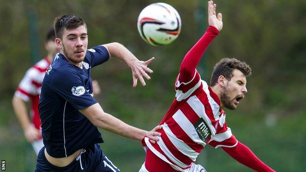 Dundee's Declan Gallagher and Hamilton's Anthony Andreu