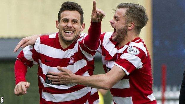 Anthony Andreu (left) celebrates for Hamilton
