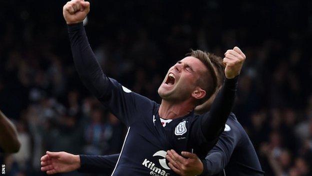 Peter MacDonald celebrates for Dundee