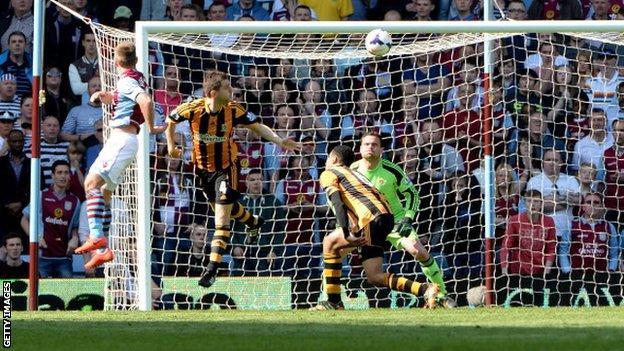 Andreas Weimann celebrates scoring for Aston Villa against Hull City