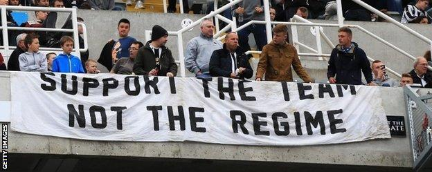 Newcastle fans protesting over the running of the club