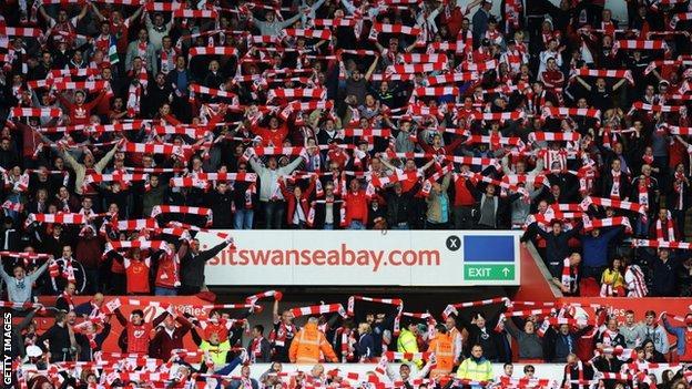 Southampton fans at the Liberty Stadium