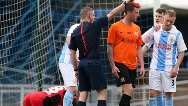 Glenavon suffered an early setback when their defender Gareth McKeown was sent-off for elbowing Ballymena goalkeeper Aaron Shanahan