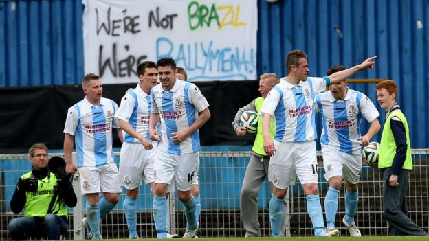 Ballymena celebrate after skipper Allan Jenkins scored their 76th minute equaliser against Glenavon in the Irish Cup final at Windsor Park