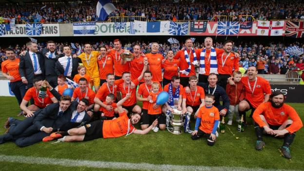 The party begins as Glenavon celebrate winning the Irish Cup for the first time since 1997