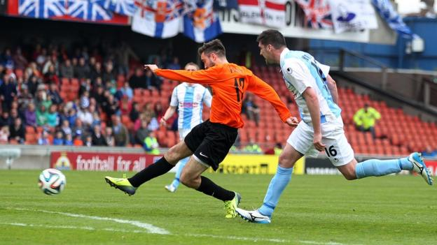 Mark Patton strikes the winning goal for Glenavon against Ballymena United, giving the Lurgan club their first Irish Cup triumph for 17 years