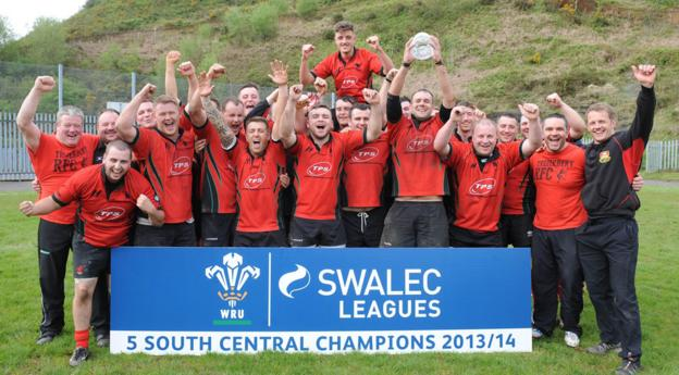 Treherbert rugby club are all smiles after clinching the Swalec League Division Five South Central championship against Ogmore Vale