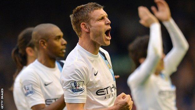 James Milner celebrates Manchester City's win