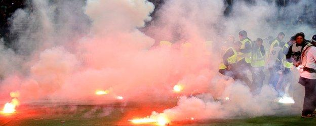 Flares thrown before the 2014 Italian Cup Final