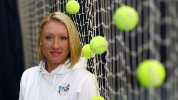 Elena Baltacha poses for the camera at the National Tennis Centre in Roehampton in 2010