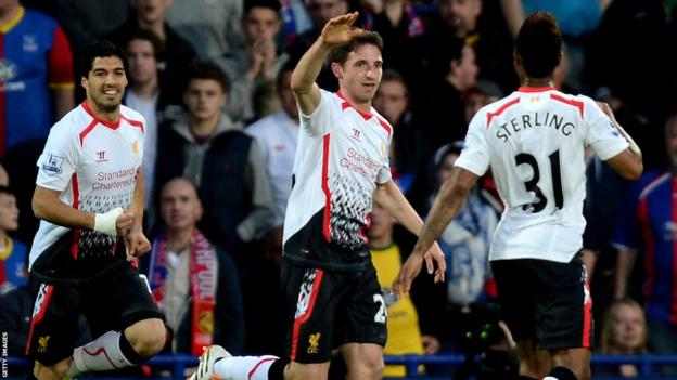 Wales midfielder Joe Allen celebrates after scoring for Liverpool in Monday's Premier League game at Crystal Palace.