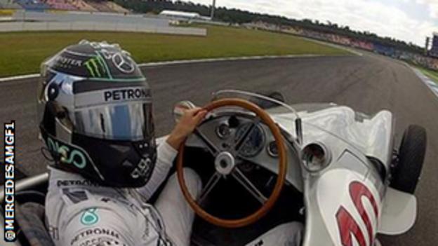 Nico Rosberg driving the W196 at Hockenheim