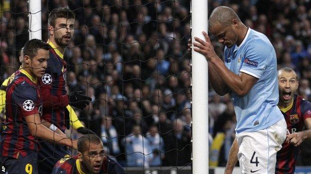 Manchester City captain Vincent Company during his side's Champions League fixture against Barcelona at the Nou Camp