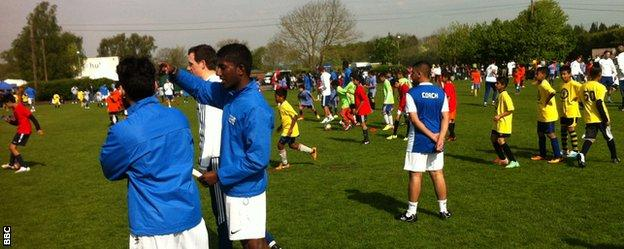 Asian players and coaches take part in the Chelsea Asian Star day at the Premier League side's Cobham training ground