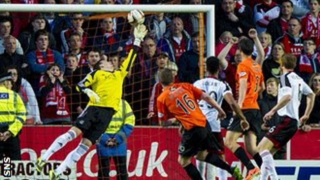 Jamie Langfield makes a save for Aberdeen against Dundee United