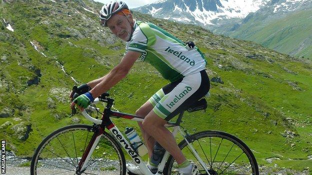 Tommy Lamb cycling in the Alps and the West Belfast man has been a spectator at every Tour de France over the last 25 years