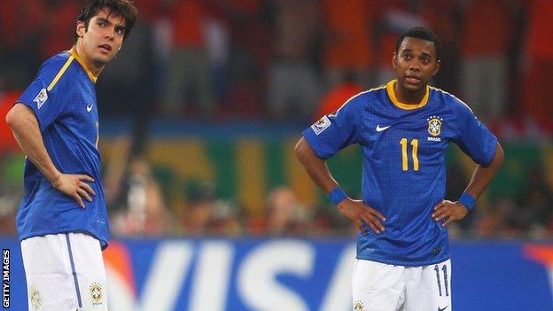 Brazil pair Kaka and Robinho
