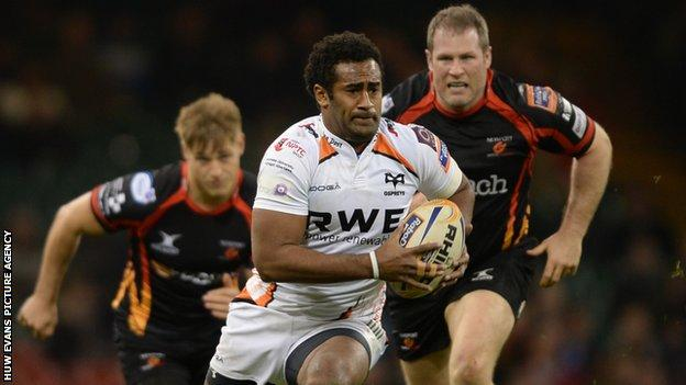 Aisea Natoga of Ospreys on the attack against the Newport Gwent Dragons